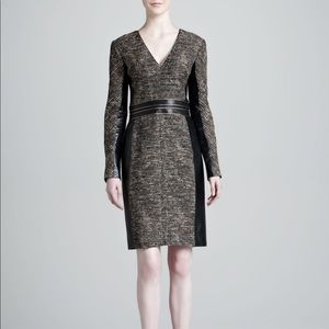 J. Mendel Gold Tweed & Leather Fitted Midi Dress 8